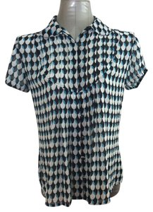 East 5th Essentials Career Shortsleeve Button Front Fitted Print Top Black, White and Blue