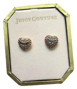 Juicy Couture Pink, gold and silver E-pave heart studs