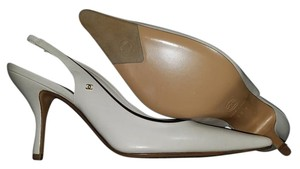 Chanel Slingback Heels Leather White Pumps