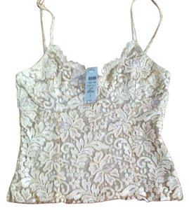 Cache Beaded Laceover Knit Top Golden Beige