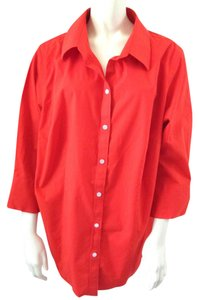 Talbots Plus-size Cotton Button Down Shirt Orange