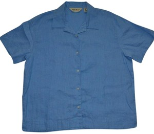 Eddie Bauer Short Sleeve Button Down Shirt Blue