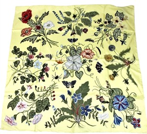 Gucci New Gucci Yellow Large Floral Silk Foulard Scarf 371443 9300
