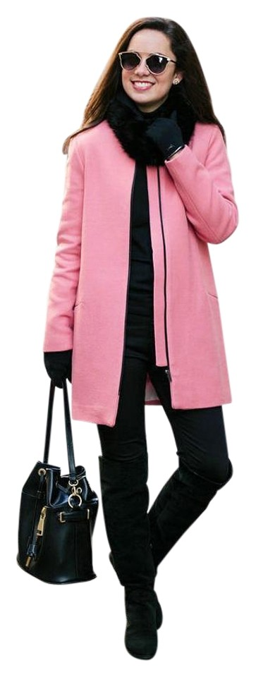 a6924a3c2e Zara Pink Wool Coat with Zipper Contrast Jacket Size 4 (S) 72% off retail