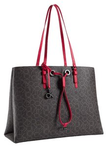 Calvin Klein Large Tote in BROWN W/ RED TRIM