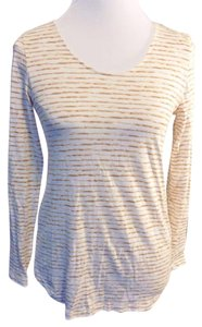 J. Jill Casual Cotton Striped Longsleeve Pullover T Shirt Brown and Ivory