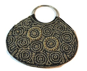 Coldwater Creek Evening Satchel in Black with gold and black beads