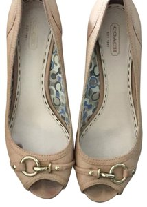 Coach Peep Toe Wedge Sandals Nude Wedges