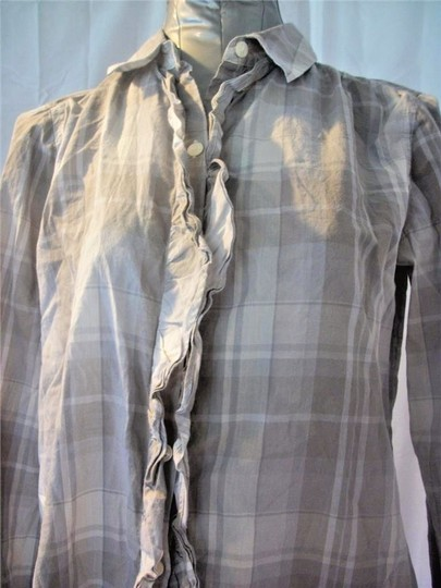 be644cfdb Ann Taylor LOFT Gray And White Plaid Cotton Ruffle Front Long Sleeve Casual  Cute Button Down