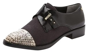 Rachel Roy Snakeskin Canvas Leather Black White Flats
