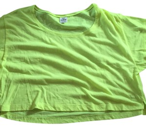 PINK Crop Neon Yoga T Shirt Neon yellow