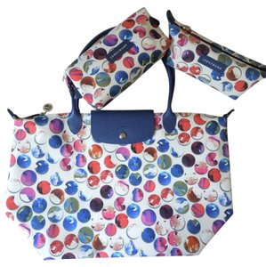Longchamp Large Flap Clutch Tote in blue white multi