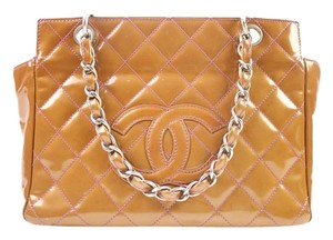 Chanel Gst Quilted Patent Leather Tote