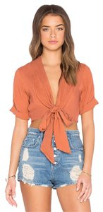 Faithfull the Brand Crop Front Tie Top Orange