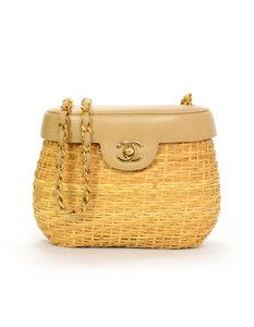 Chanel Wicker Basket Gold Hardware Shoulder Bag