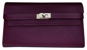 Herms Kelly Longue Wallet In Violet Chevre Mysore Leather
