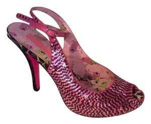 Betsey Johnson Lace Sequin Platform Heels Fuchsia/Black Formal