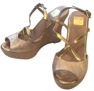 Kanna Gold Heel Gold tan Wedges