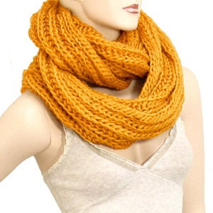 harvest Amber Mustard Gold Knitted Infinity Scarf