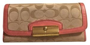 Coach COACH SIGNATURE LOGO TAN FABRIC/PIBK LEATHER TRIM LARGE WALLET
