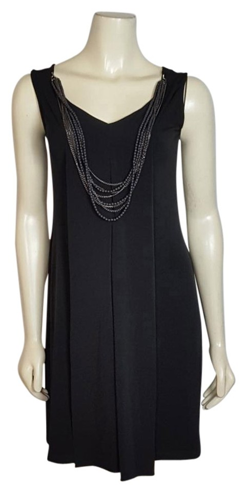 f5d7786c558 Carole Little Black Sleeveless Pleated with Necklace Mini Cocktail ...