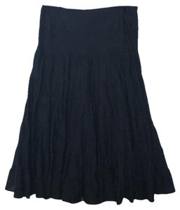 INC International Concepts Peasant Long Flowy Skirt Black