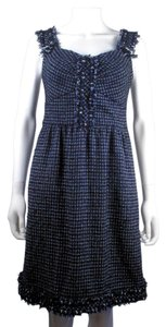 Chanel short dress Blue Tweed Fringe Trim Sleeveless on Tradesy