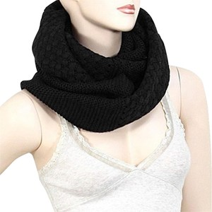 Other Black Infinity Round Knitted Scarf Sweater Neckwarmer Collar