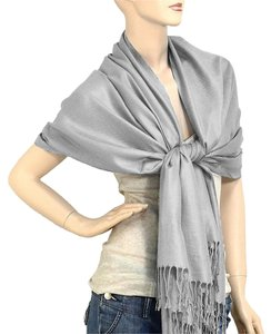Other Gray Pashmina Silk Scarf Wrap Shawl