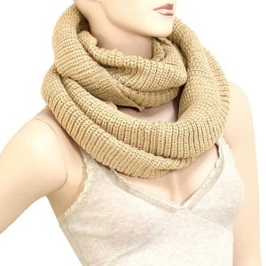 Beige Knitted Infinity winter Scarf