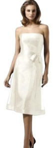 Dessy Tea Length Strapless Organdy Dress