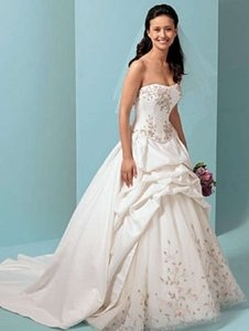 Alfred Angelo Ivory/Multi Satin 1648 Formal Wedding Dress Size 8 (M)