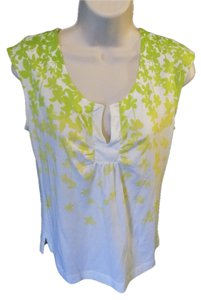 Rafaella Sleeveless Floral Cotton Casual Cute Top Green and Yellow