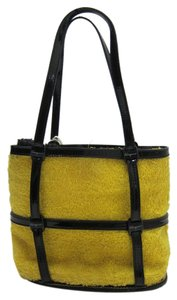 Salvatore Ferragamo Terry Cloth Patent Leather Yellow and Black Clutch