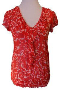 INC International Concepts Floral Casual Stretchy Top Red and White