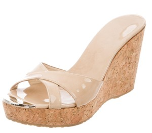 Jimmy Choo Patent Leather Cork Gold Hardware Logo Perfume Beige Platforms
