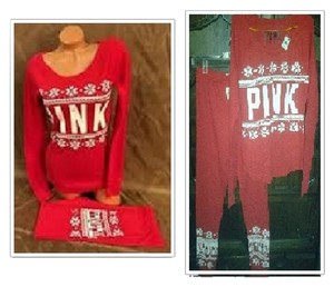 PINK by Victoria's Secret Victoria Secret PINK NWT 2pc Red Thermal Snowflake Pajama's sz M