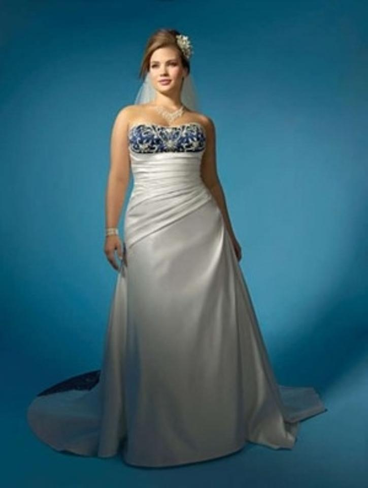 Alfred angelo ivory navy satin 2132 formal wedding dress for Non traditional wedding dresses plus size