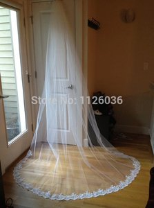 French Alencon Lace Edge Cathedral Veil 4m*1.5m Full Extra Length Ivory And White
