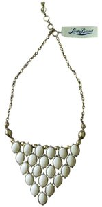 Lucky Brand NWT Goldtone White Cream Stone Cabachon Bib Necklace #0526