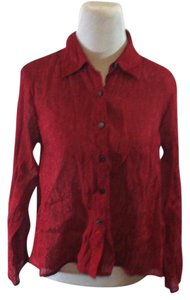 J. Jill Button Front Solid Longsleeve Textured Classic Top Red