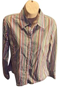 J.Crew Button Front Longsleeve Classic Cotton Striped Button Down Shirt Multi-Colored