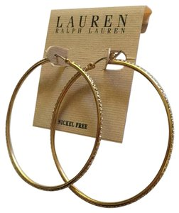 Lauren Ralph Lauren NWT Pave Crystal-Lined Goldtone Large Hoops L2786EP5023 Nickel Free