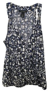 White House | Black Market Whbm Sleeveless Wraparound Shirt Top Multi color Black/white/blue