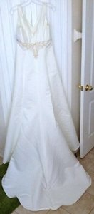 David's Bridal V-neck Ivory Embroidered Wedding Dress