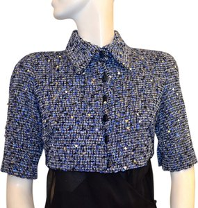Douglas Hannant Blue Blue/White Sequin Tweed Cropped Jacket Jacket