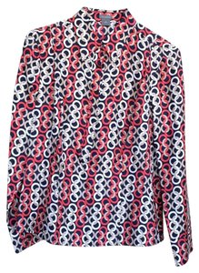 Ann Taylor Top Navy blue, red, white and tan