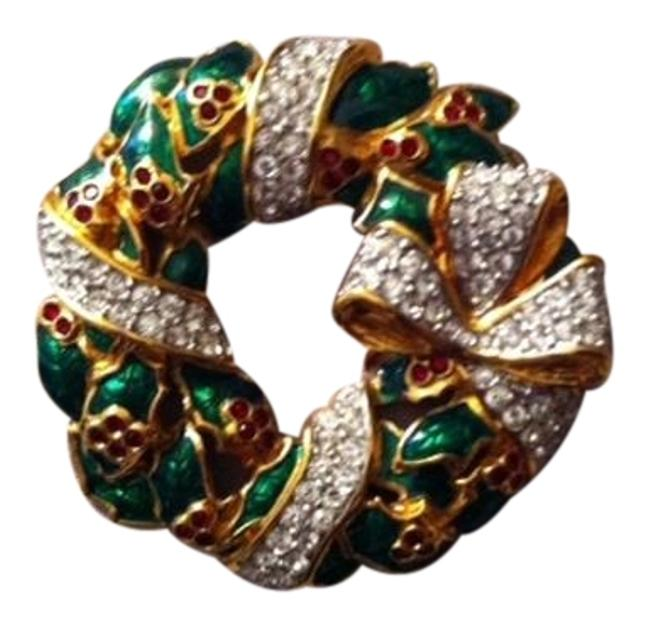Item - Goldtone with Clear Green and Red Holiday Wreath Pin