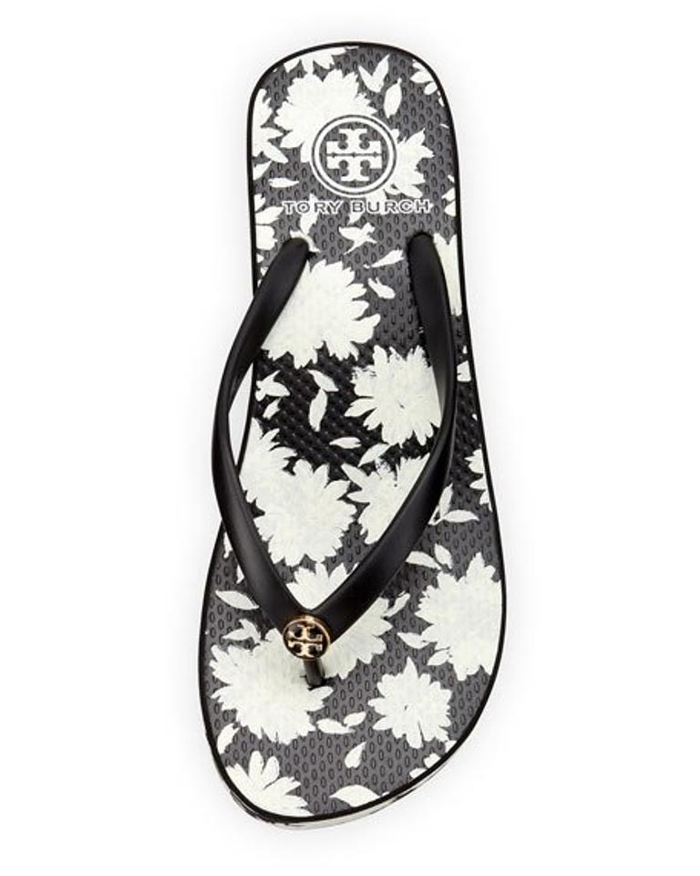 bd8e2d4ad4f8c Tory Burch Black White Thandie Floral-print Wedge  Msrp Flats Size US 11  Regular (M