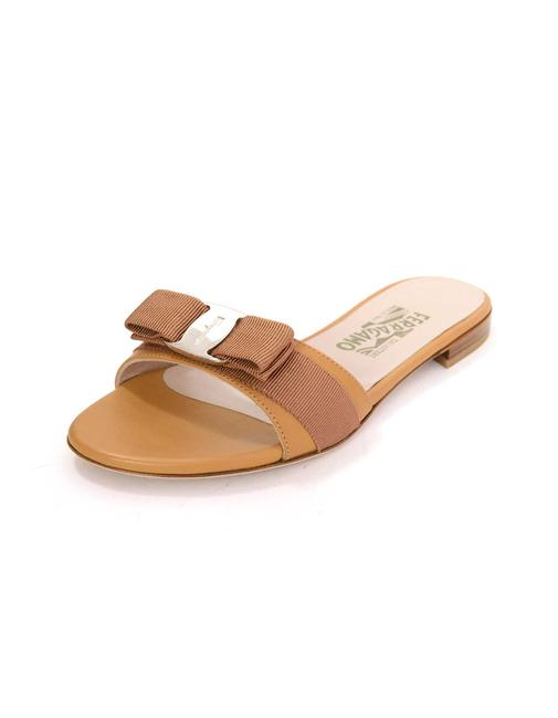 Item - Tan New Gil Bow Mules/Slides Size US 6